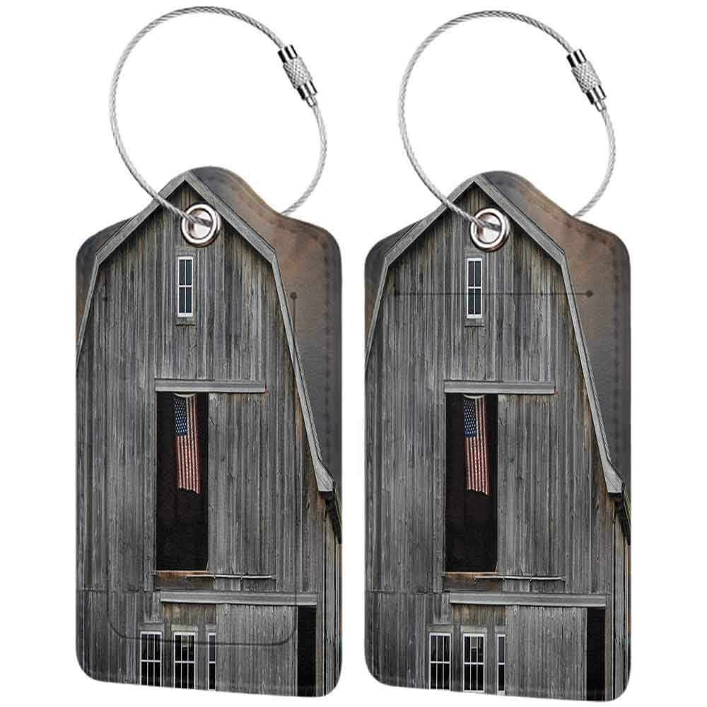 Printed luggage tag Farmhouse Decor Collection American Flag Flying in a Hayloft Window Wooden Old House Dark Evening View Protect personal privacy Beige Dimgrey W2.7 x L4.6