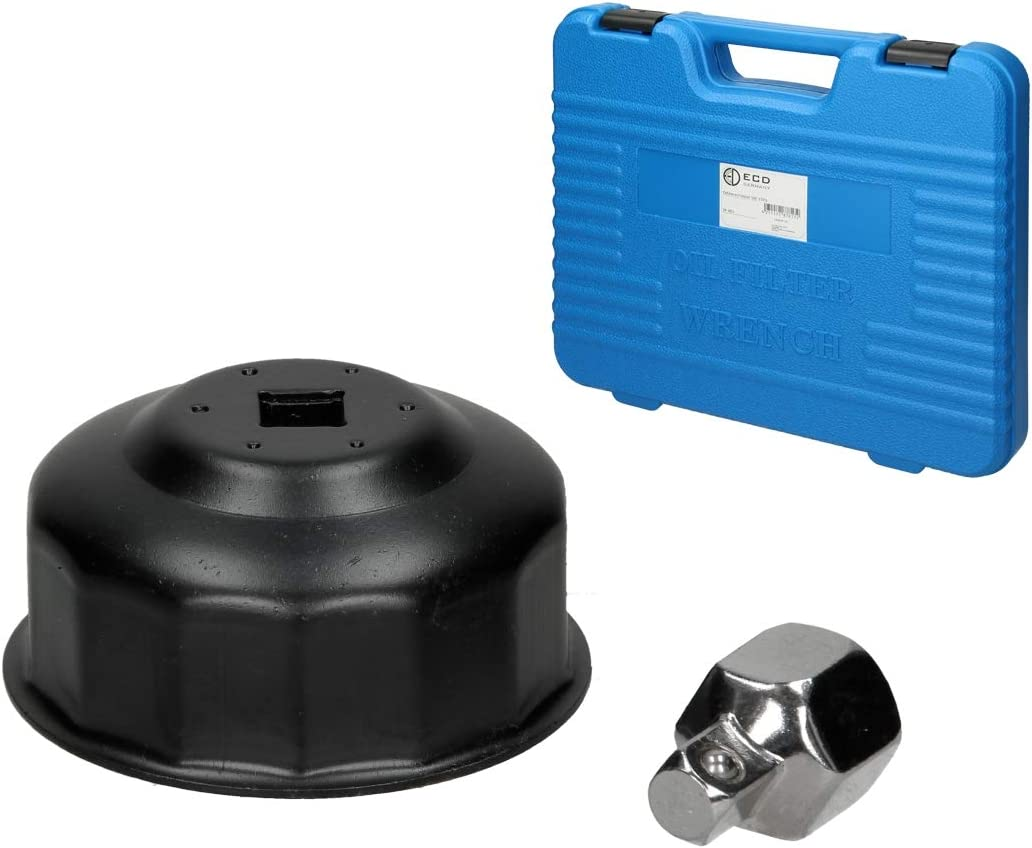 ECD Germany Juego de Llaves para Filtro de Aceite Adaptador de Tapas Kit de Llaves de Vaso Herramientas Mec/ánicos Set de 15 Piezas Cazoletas Incluye Malet/ín de Transporte