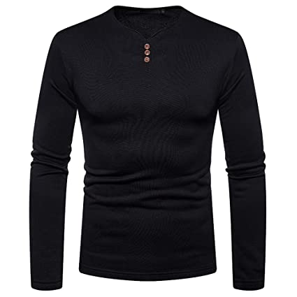 Easytoy Mens Fashion Solid O Neck Slim Fit Long Sleeve Muscle Tee T-Shirt Shirts