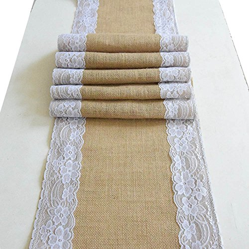 AmaJOY1pc 12x70 Inch (30cmx 180cm) Jute Burlap and White Lace Table Runner Country Rustic Wedding Decoration Bridal Shower Baby Shower Party Decor (1) (Rustic Shower)