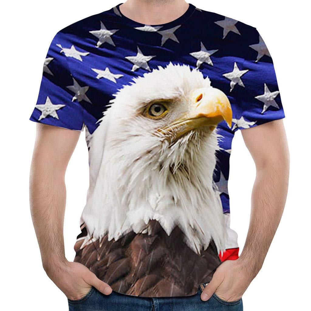 Eoeth Mens Running Shirt Eagle 3D Printing Tees Sleeve T-Shirt Blouse Tops Pullover Sweatshirt