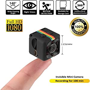 Gadgetise Wireless Mini Camera | WiFi Spy Camera for Indoor | Hidden Security Camera for Outdoor Surveillance | Video Recorder with 1080p HD Recording, Motion Detection and Night Vision