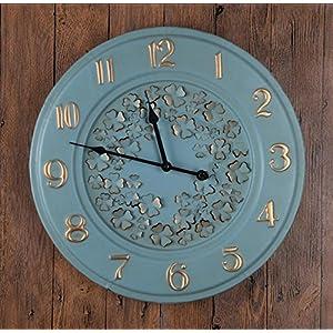 LD-Cuatro hojas Trébol Relojes Digitales Metal Simple Casa Decoración Salón El Bar Reloj De Pared , blue 15
