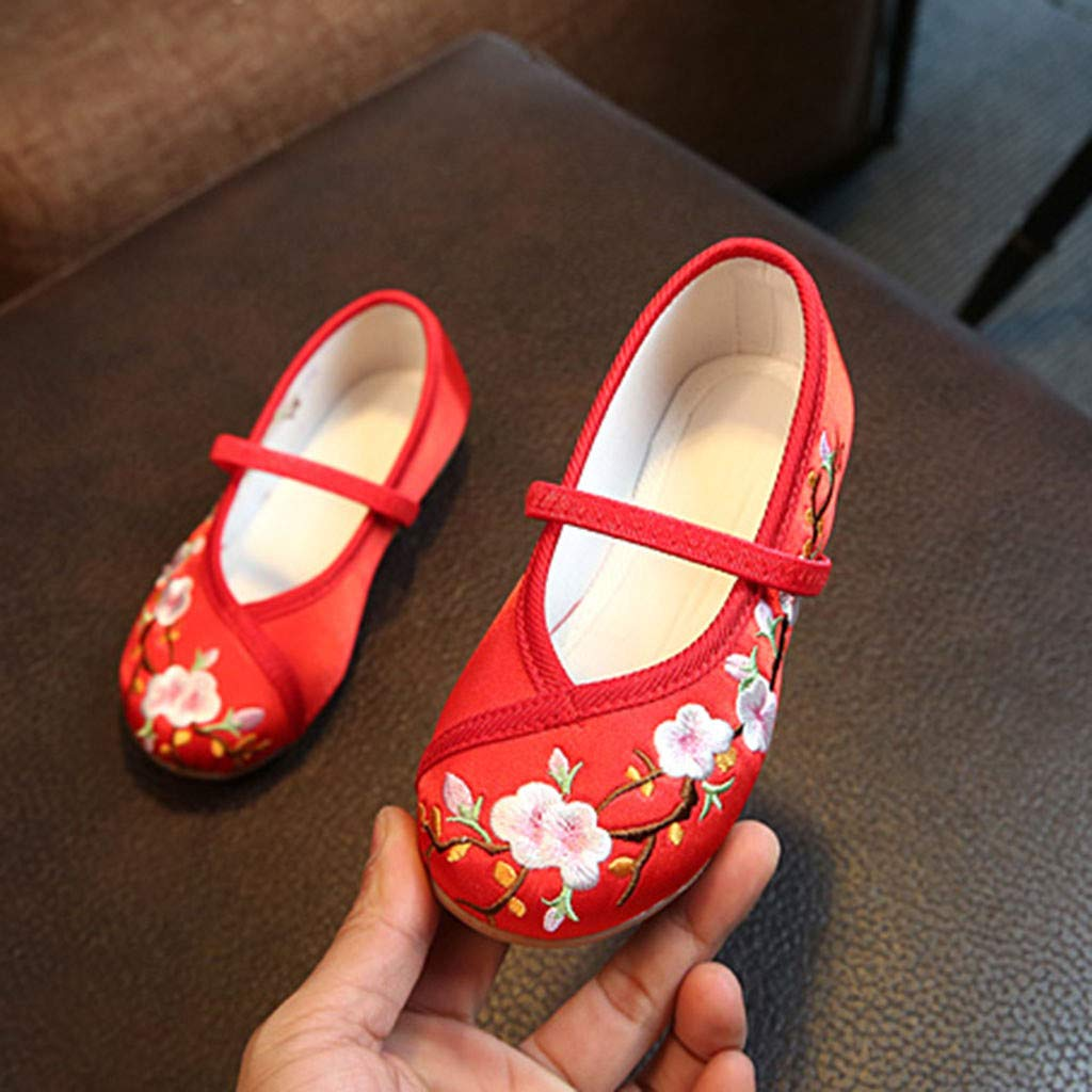 ❤️ Sunbona Kids Baby Girls Single Cloth Shoes Sandals Embroidery Flower Ethnic Style Anti-Slip Casual Mary Jane Sandals