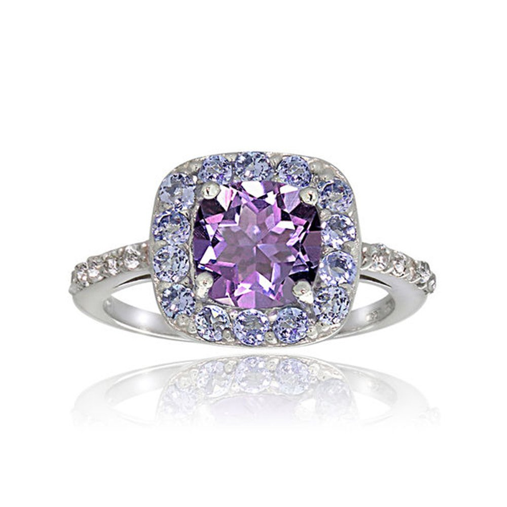 Teniu Purple Crystal Amethyst Ring Diamond Flower Ring Fashion Jewelry Rings For Women Girls