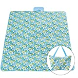 STONCEL Picnic Blanket Waterproof Large,Picnic Mat Polyester Washable Bag,Camping/Beach Blanket for Summer Beach Hiking Grass Travel Outdoor Blanket with Picnic Storage Lunch Bag (Lily)