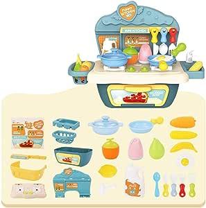 Sponsi Juego de imaginación Juego de juguetes de cocina Verduras Frutas Cubiertos de cocina Juego de juguetes de mesa Juegos caseros para niños Niños Cumpleaños Regalo de Navidad: Amazon.es: Hogar
