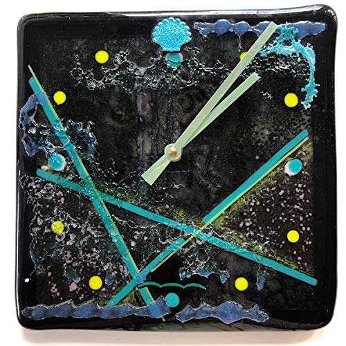 Ocean Floor Coral Fused Glass Clock,Sand N Surf Colors