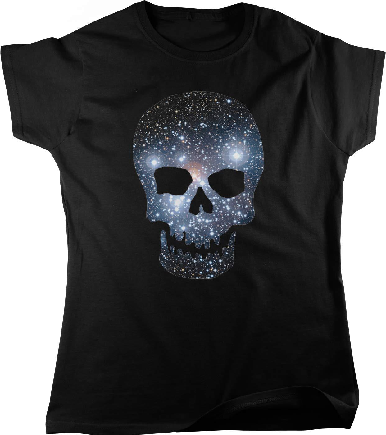 Hoodteez Galaxy Pattern Skull, Space Skull Women's T-Shirt
