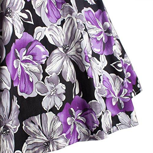 Bleu Floral Violet 50 Noir 02 03 Jupe Fleurs Annes 13 Vintage Rockabilly iHaipi Large UxE7qz6w