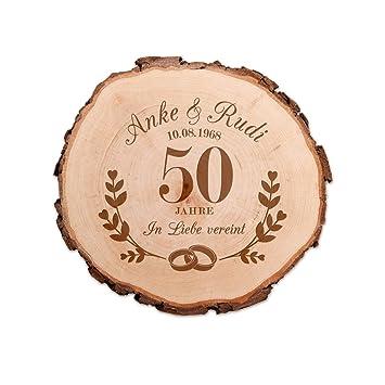 Casa Vivente Baumscheibe Mit Gravur Zur Goldenen Hochzeit Personalisiert Mit Namen Und Datum Aus Echtholz Türschild Und Wand Deko