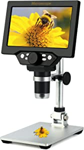 7 inch LCD Digital USB Microscope,Koolertron 12MP 1-1200X Magnification Handheld Camera Video Recorder with screen,8 LED Light,Rechargeable Battery for Circuit Board Repair Soldering PCB Coins jewelry