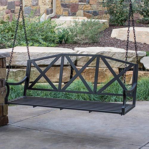 5 Foot 3 Person Black Metal Porch Swing Garden Swing Outdoor
