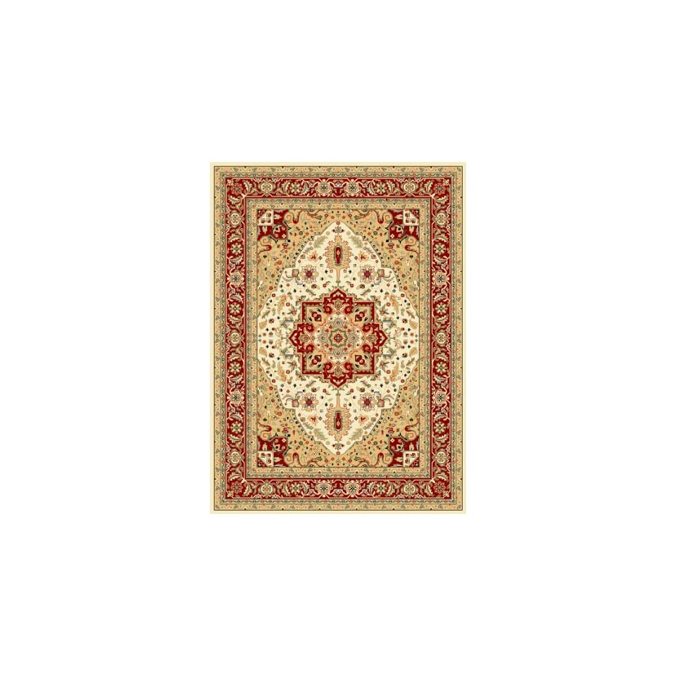 Safavieh Lyndhurst Collection LNH330A Traditional Oriental Medallion Ivory and Red Area Rug (53 x 76)