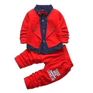 8868cb5350b HZXVic 2pcs Baby Boy Dress Clothes Toddler Outfits Infant Tuxedo Formal  Suits Set Shirt + Pants