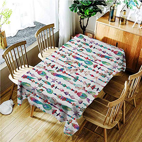 (TT.HOME Washable Tablecloth,Feather Marine Accessory Chains Pendants Mineral Stones Shells Beads Watercolor Style Art,Resistant/Spill-Proof/Waterproof Table Cover,W60X90L,Multicolor)