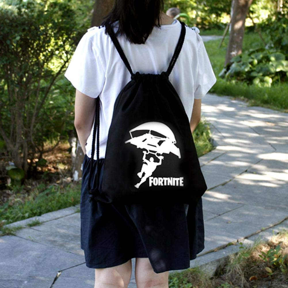 gaeruite Fortnite - Mochila de Lona Estampada con cordón para niños, niñas, Bolsa de Deporte Unisex, Bolsa de Gimnasio al Aire Libre, Bolsa de Senderismo, ...