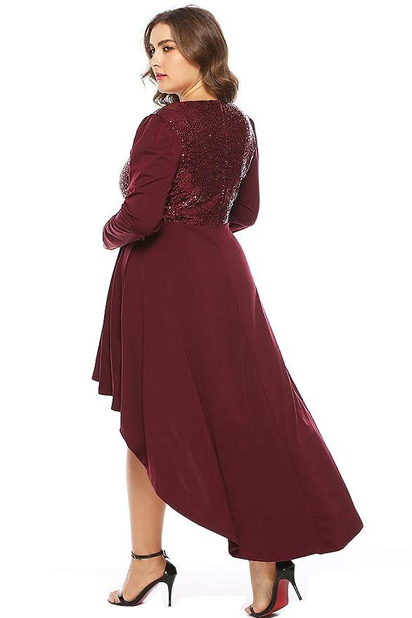 1986b588c3 Amazon.com  MERRYA Women s Plus Size Sequin Christmas Party Casual High-Low  Tunic Maxi Dress  Clothing