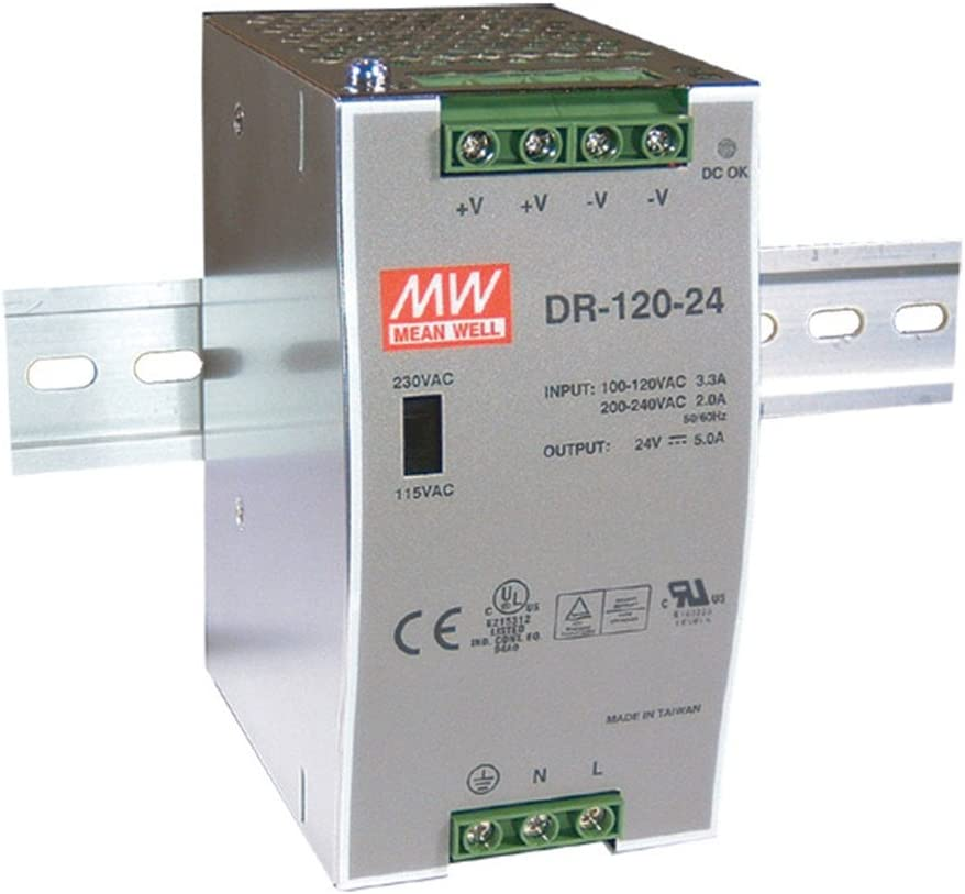 MW Mean Well DR-120-24 24V 5A 120W Single Output Industrial DIN RAIL Power Supply