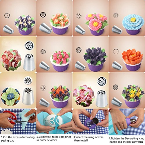 SASRL Russian Piping Tips For Cupcakes Decoration 23-Pcs Set (12 Russian Tips 10 Disposable Pastry Bags 1 Tri-Color Coupler)