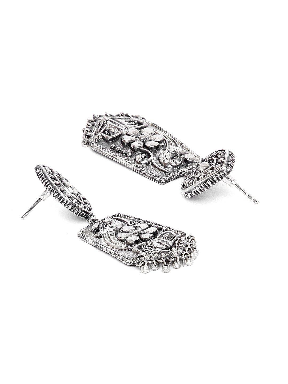 ZeroKaata/Fashion Jewellery Intricately Designed Tribal Jewellery Silver Plated Danglers For Women /& Girls