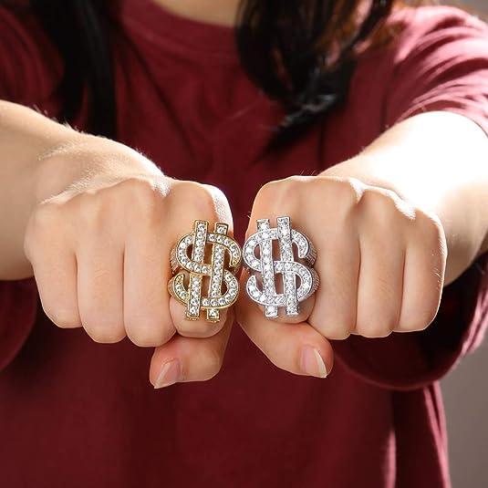 SIZE 11 MENS 14KT GOLD EP  DOLLAR SIGN $ BLING HIP HOP  DESIGNER RING
