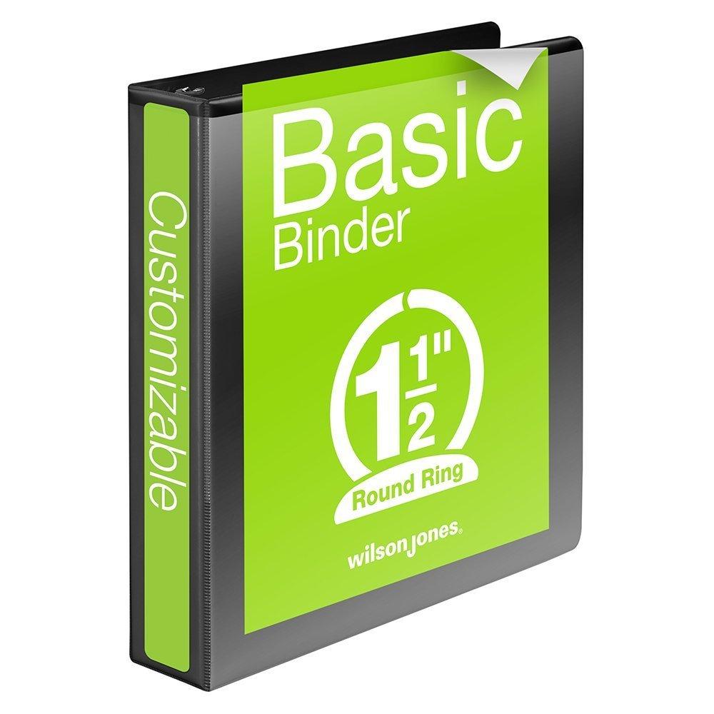 Wilson Jones 1-1/2 Inch 3 Ring Binder, Basic Round Ring View Binder, Black (W362-34B)