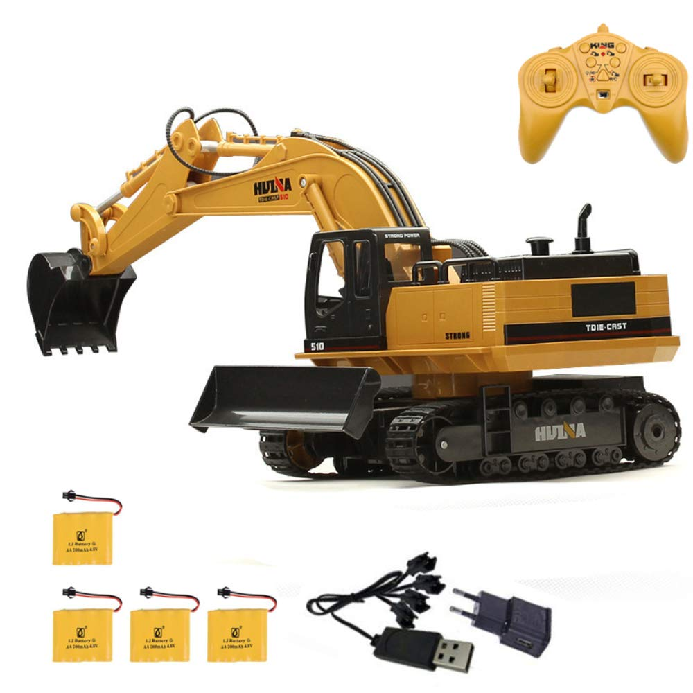 15CH Simulation RC Excavator Toys with Music and Light Children's Boys RC Truck Toys Gifts RC Engineering car Tractor HUAXING