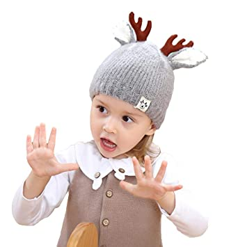 974fc34f50955 Image Unavailable. Image not available for. Color  Longay Children Baby Boys  Girls Elk Ears Warm Winter Beanie Knit Hat ...