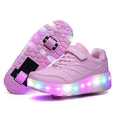 Kinder Schuhe mit Rollen Skateboard Schuhe Kinder mit Rollen Wheels Schuhe Skateboardschuhe Sneakers Turnschuhe Laufschuhe Sportschuhe mit Rollen für Mädchen Jungen Rosa 31 ld2ICzy
