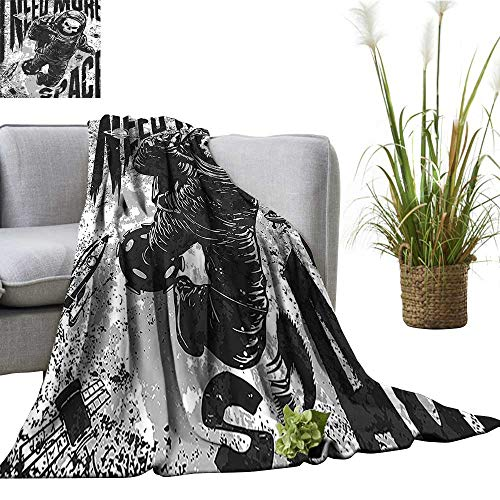 YOYI Polyester Blanket Skull in Spaceman Suit Over Background Dead Spooky Halloween Theme Grey Cozy and Durable 60