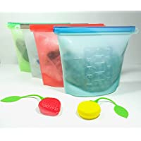 Reusable High Grade Quality Silicone Food Storage Bags 1 Set in 4 Colours with 1000ml Capacity - Comes with 2 Free Stylish High Quality Beverage Infusers. Eco friendly FBA Approved Zip Lock Silicone Bags To Store Cooked Food, Sous Vide, Lunch, Snack, Sandwich, Freezer Storage & Water Tight. Holds Liquids for the Fridge or Freezer. Also Baby Food & Wipes -ships from Australia🇨🇰