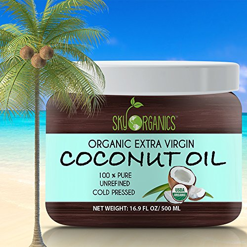Organic Extra Virgin Coconut Oil by Sky Organics 16.9 oz- USDA Organic Coconut Oil, Cold-Pressed, Kosher, Cruelty-Free, Fairtrade, Unrefined- Ideal as a Skin Moisturizer, Hair Treatment & Baking