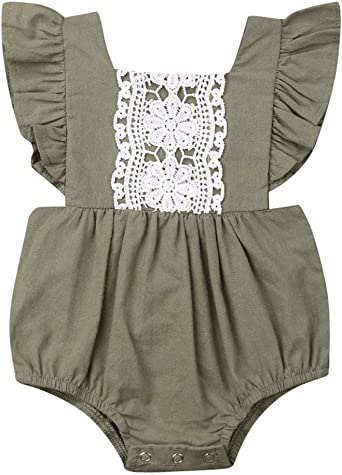 US Summer Newborn Baby Girl Backless Clothes Lace Ruffle Romper Bodysuit Outfits