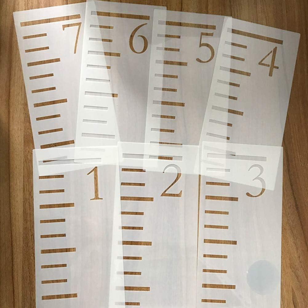 Elibeauty 7 St/ück wiederverwendbare 2,13 m Wachstumsdiagramm Lineal Schablone Wachstumsmessung Lineal f/ür Malen auf Holz Wanddekoration wei/ß