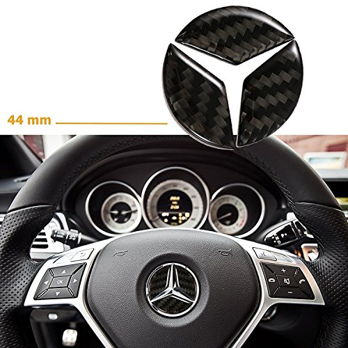 Boobo MB-45CB 44mm Steering Wheel Center Cover Trim Logo 3D Carbon Fiber Emblem Sticker for Mercedes Benz