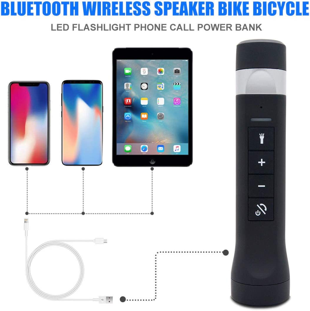 Bluetooth Wireless Speaker Bike Bicycle Led Flashlight Phone Call Power Bank