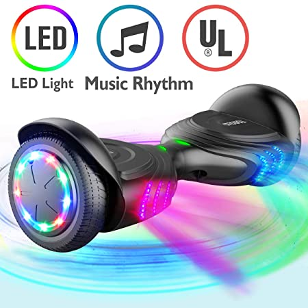 TOMOLOO Music-Rhythmed Hover Board for Kids and Adult Two-Wheel Self-Balancing Scooter- UL2272 Certificated with Music Speaker- Colorful RGB LED Light (K1)
