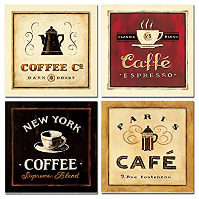 Abstract Coffee Canvas Prints Wall Art Pictures Drinking Paintings Artworks for Living Room Bedroom Office Decoration, 12x12 inch, Framed, Brown Black and Red