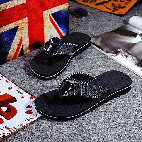 Saingace Männer Sommer Streifen Flip Flops Schuhe Sandalen Herren Slipper Flip-Flops Schwarz