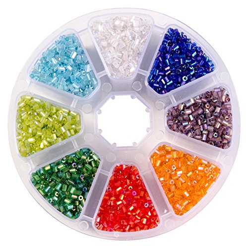Cut Seed Beads Glass (PandaHall Elite About 7500 Pcs Two Cut Glass Seed Beads Tube Lined Spacer Bugle Bead Length 2.2mm for Jewerly Making 8 Colors)