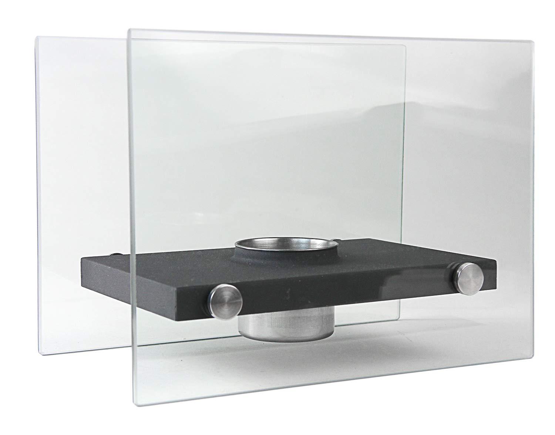 Nerd Clear Gel-Kamin Biokamin Bioethanol-Kamin zum Aufstellen am Boden Glas und Stahl