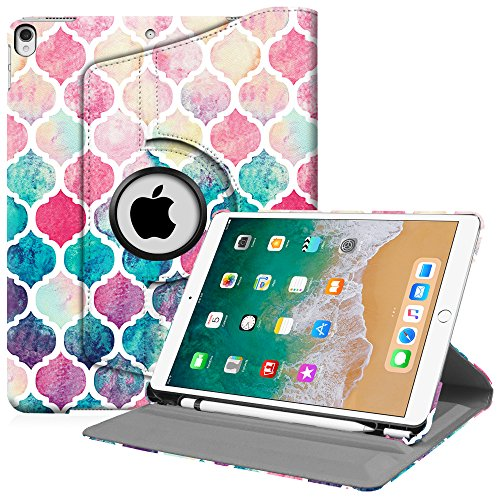 Fintie iPad Pro 10.5 Case with Built-in Apple Pencil Holder - 360 Degree Rotating Stand Protective Cover with Auto Sleep/Wake Feature for Apple iPad Pro 10.5 inch 2017, Moroccan Love
