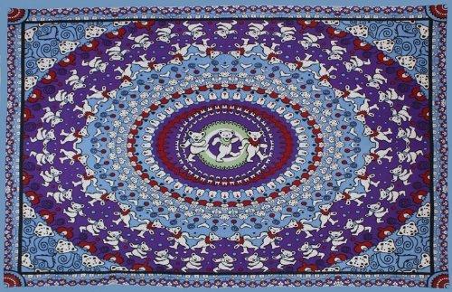 "Sunshine Joy Grateful Dead Dancing Bears Blue Purple Tapestry Wall Hanging Table Cloth - 60x90"""