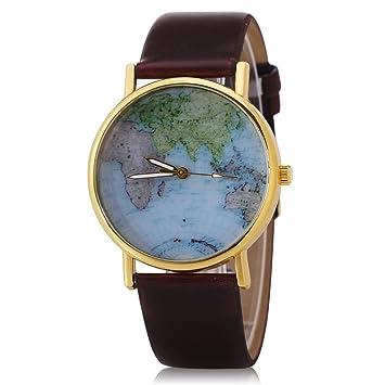 fenkoo Mujer Reloj Tendance cuarzo reloj tarjeta del mundo PU banda negro/blanco/marrón marque-, marrón: Amazon.es: Deportes y aire libre