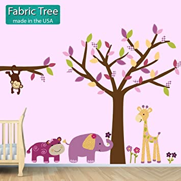 Amazoncom Fabric Tree Lil Friends Jungle Tree Wall Decals - Wall decals jungle