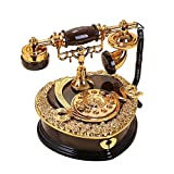 Vintage Dial Telephone Shaped Music Box Black