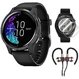 Garmin Venu Amoled GPS Smartwatch (Black) with Deco Gear Earbuds and Screen Protectors