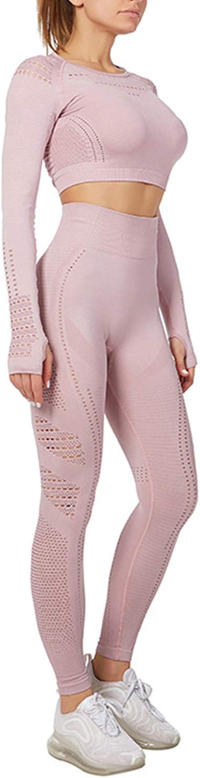 BOTRE Abbigliamento Sportivo Donna Tuta da Ginnastica 2 Pezzi Sportwear per Yoga Corso Palestra Jogging Fitness Crop Tops e Pantaloni Set