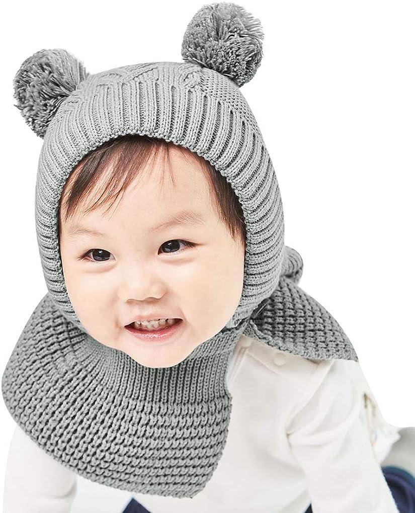 Baby Kids Warm Winter Knit Plush Wool Beanie Hat Cute Earflap Hood Scarf Ski Cap